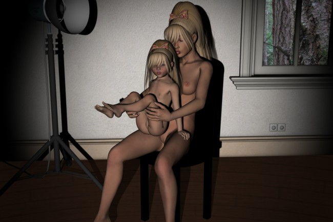 Mom and Daughter Photo Shoot Lolicon 3D Images (5)
